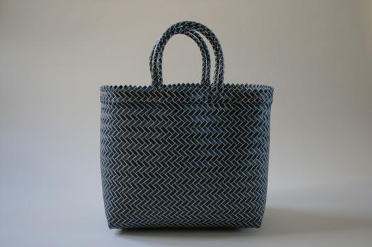 Other Handwoven Summer Plastic Blue and White Beach Bag