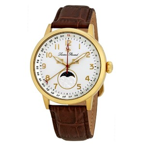 Lucien Piccard Complete Calendar Gold Tone Genuine Leather Silver Dial Men's Watch
