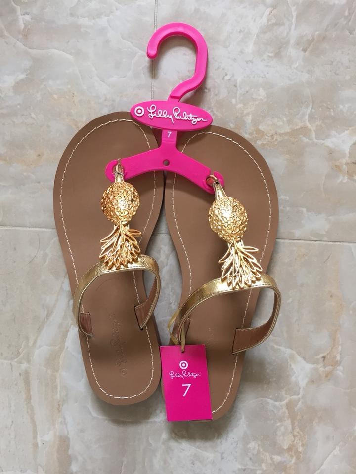 d88e71b30273 Lilly Pulitzer for Target Gold Pineapple Sandals Size US 7 Regular ...