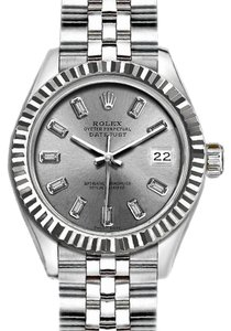 Rolex Rolex Ladies 26mm Datejust with Diamond Silver Dial Watch
