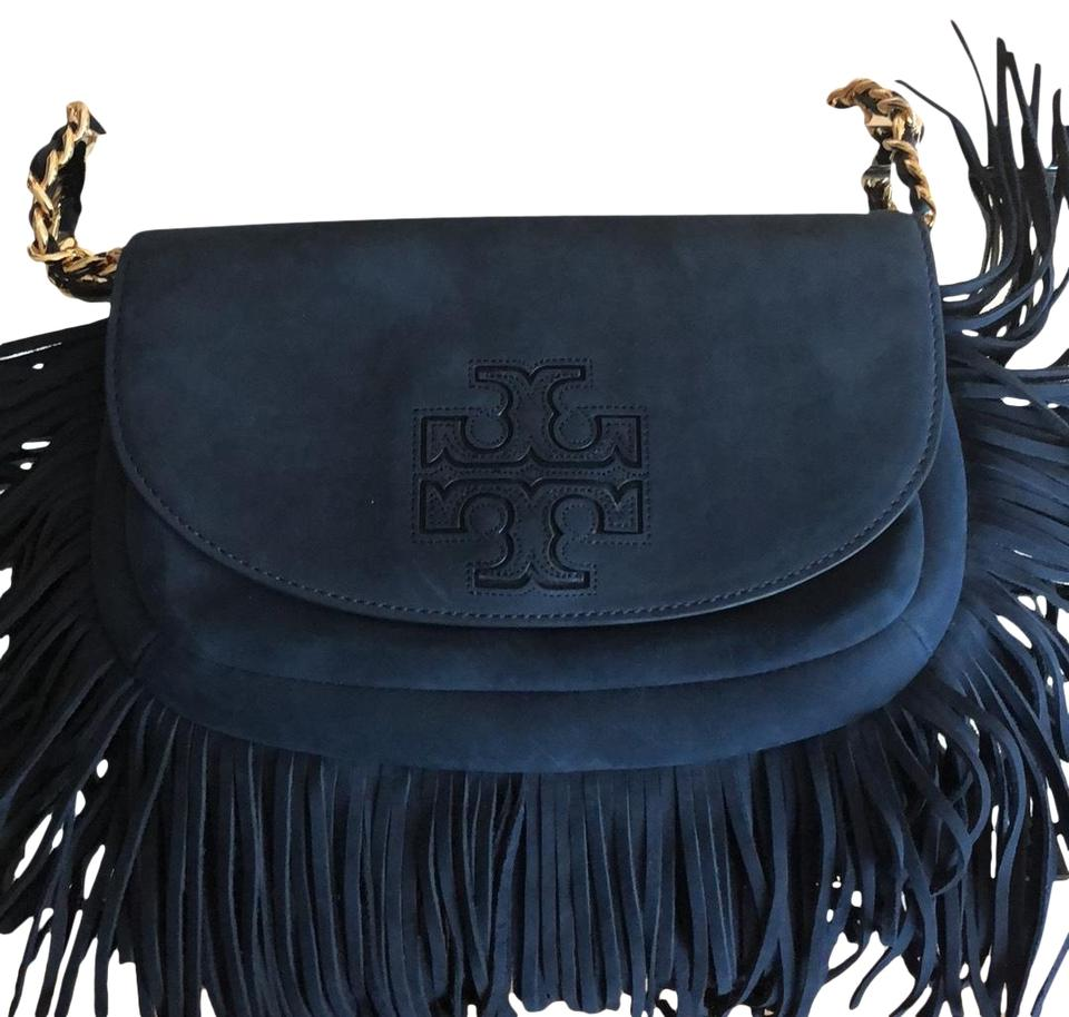 c663a5bf335 Tory Burch Harper Fringe Mini Navy Blue Suede Cross Body Bag - Tradesy
