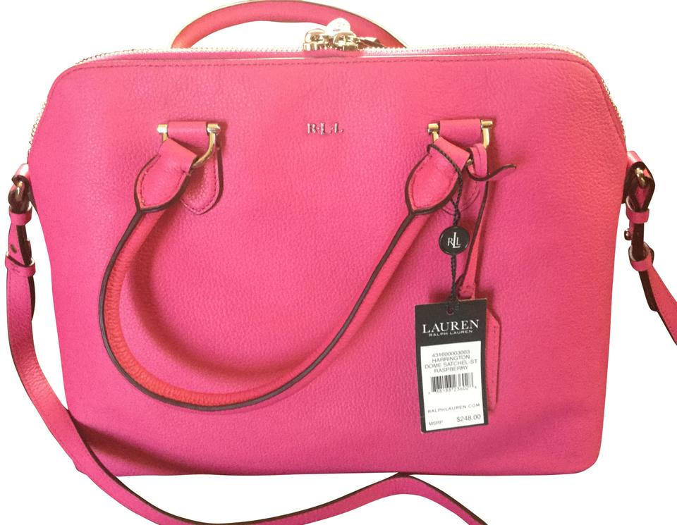 819929b5b9b24 Lauren Ralph Lauren Harrington Dome Raspberry Pebbled Leather Satchel