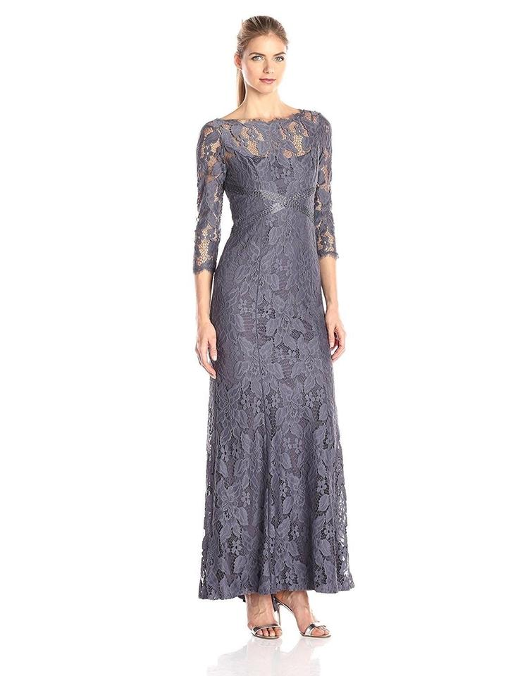 Adrianna Papell Gunmetal Illusion Yoke Embellished Waist Lace Gown ...