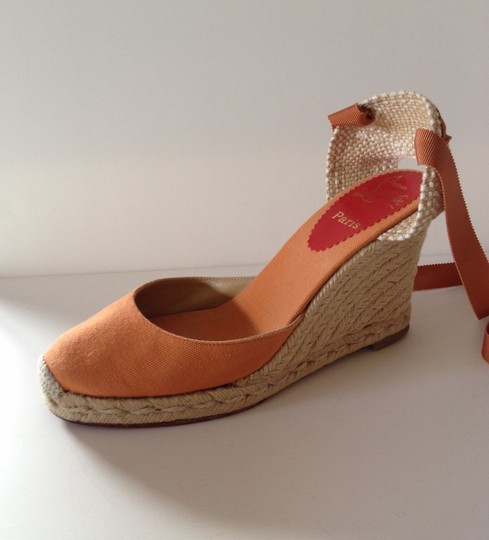Christian Louboutin Orange Wedges
