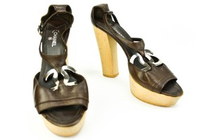 Chanel Leather Heel Cc Brown Sandals