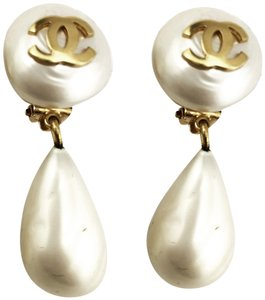 Chanel Chanel Vintage Gold Plated CC Faux Pearl Dangle Clip on Earrings