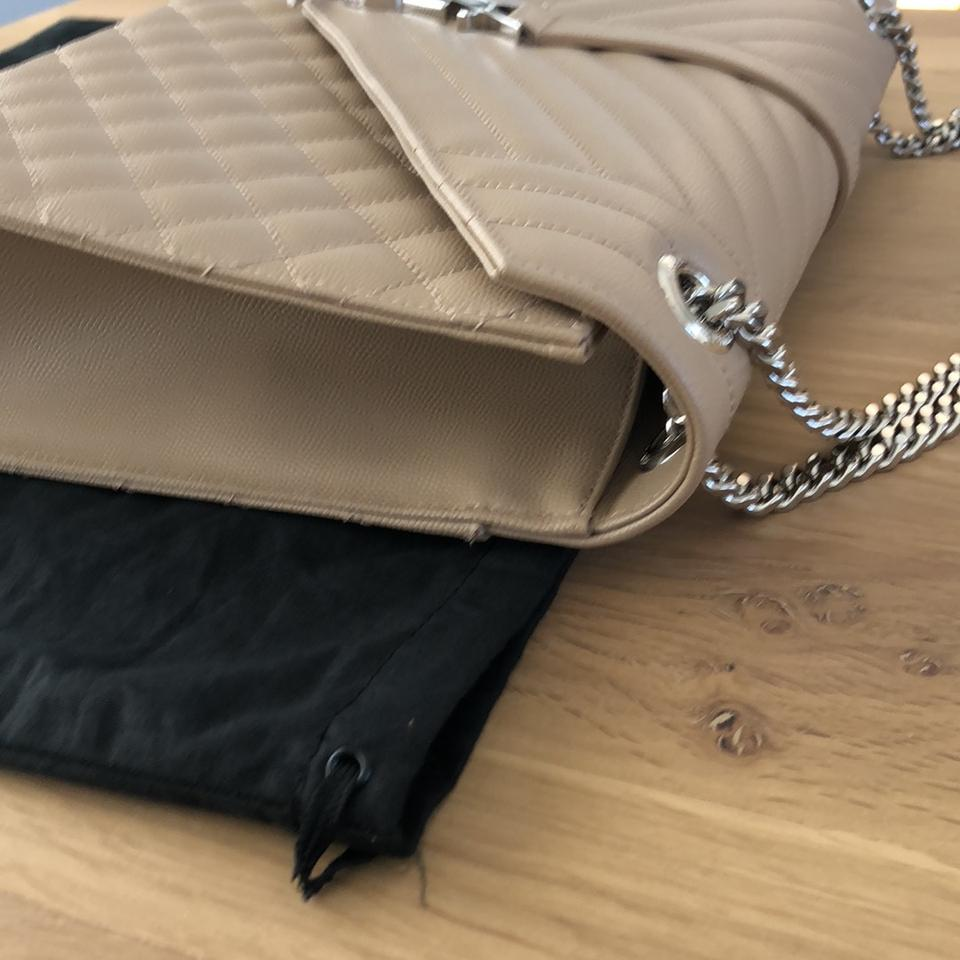 d2a8989a21 Saint Laurent Monogram Large Envelope Chain In Textured Mixed MatelassÉ Dark  Beige Calfskin Leather Shoulder Bag - Tradesy