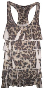 Charlotte Russe Ruffle Front Racerback Animal Print Top Multi-Color