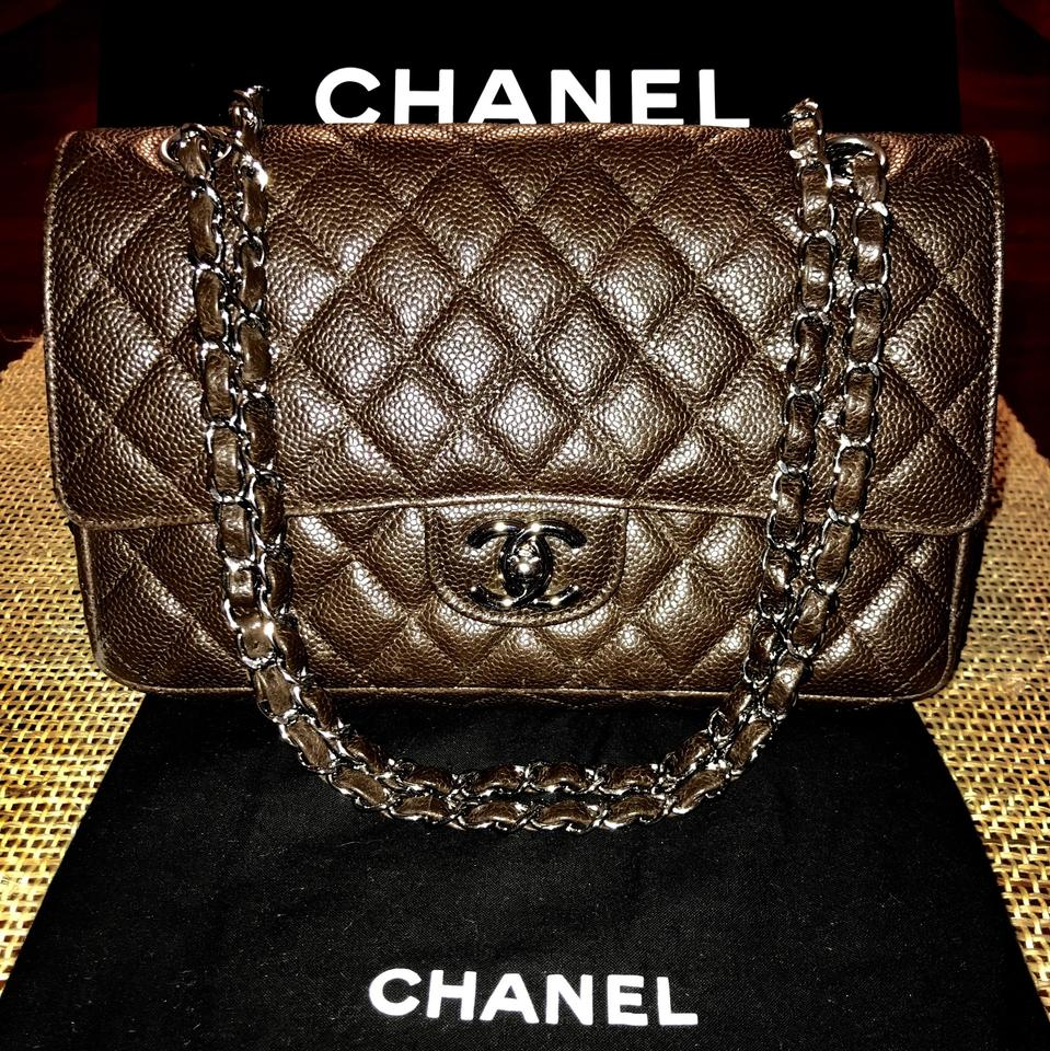 a0daf94faf4f Chanel Double Flap Classic Chocolate Brown Caviar Leather Shoulder ...
