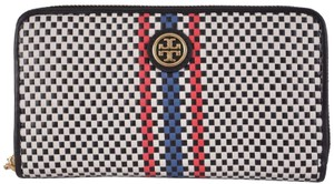 Tory Burch NEW Tory Burch $235 Woven Leather Jane Zip Around Continental Wallet
