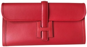 Hermès Auth Hermes Jige Red Swift Leather Clutch Handbag