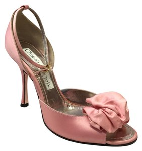 Christian Lacroix Satin Ankle Strap Open Toe Pink Formal
