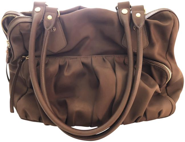 Item - Tan with Leather Trim Nylon and Handles and Gold Hardware Satchel
