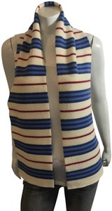 """Burberry London BURBERRY LONDON 38418 LAMBSWOOL BLUE/IVORY/RED STRIPE SCARF 59""""Lx8""""W"""