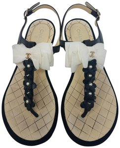 Chanel Pearl Camellia Gold Hardware Interlocking Cc Ankle Strap Black, White Sandals
