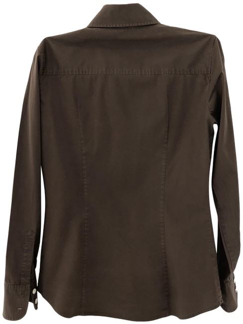 Item - Brown Cotton Long Sleeved Shirt Button-down Top Size 2 (XS)