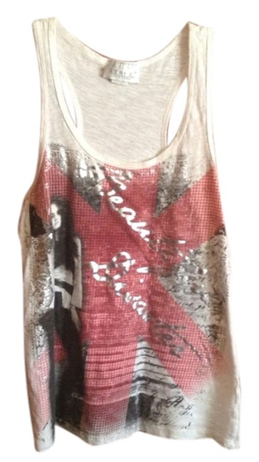 Item - Girl Red Black White Silver Words Disaster Chic Tee Shirt Tank Blouse Size Petite 14 (L)