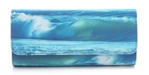 Juicy Couture Wave Ocean Surf Vegan Nautical Blue and Pink Clutch