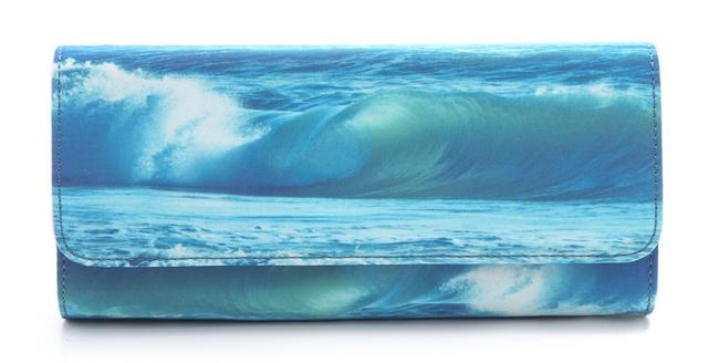 Item - Print Blue and Pink Polyester Clutch
