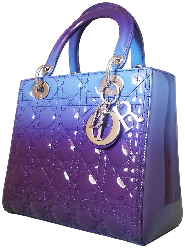 Dior Lady Purse Medium Patent Tote In Grant Purple And Blue