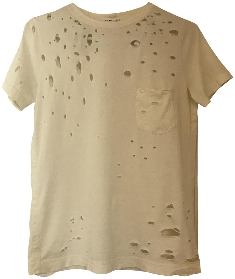 Helmut lang ivory distressed tee shirt size 4 s tradesy for Helmut lang t shirt