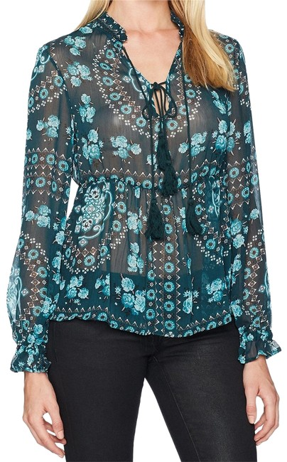 Item - Forest Green New Blue Womens Small S Sheer Floral Print Blouse Size 6 (S)