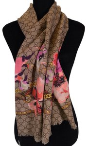 Gucci NEW Gucci Women's 508797 Large Wool Pink Pansie BLOOMS GG Scarf Shawl