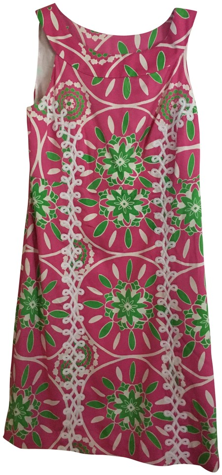e3150ee1c28 Lilly Pulitzer Pink Green White Jacqueline Hibiscus Gather Round Short  Casual Dress