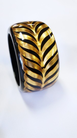 Roberto Cavalli ROBERTO CAVALLI BLACK ACRYLIC BANGLE BRACELET OLD GOLD HERRINGBONE