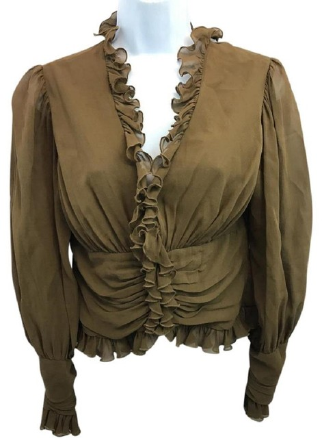 Item - Riffled Trim Brown Blouse Size 8 (M)