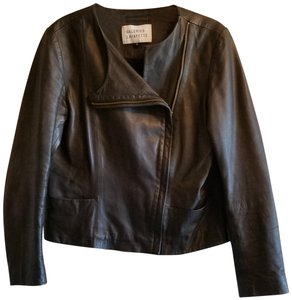 Galeries Lafayette Motorcycle Soft Side Zipper Cropped black Leather Jacket