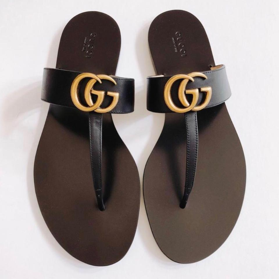 6fd846c90f6b Gucci Black Marmont 2018 Leather Thong with Double Gg Gold Logo Sandals  Size US 11 Regular (M