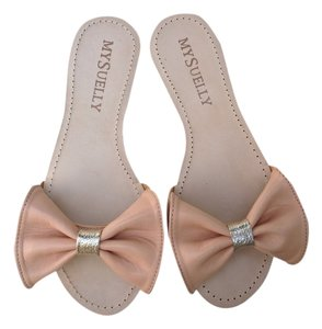 My Suelly My Leather Bianca Slide Large Bow Accent Blush/gold Sandals