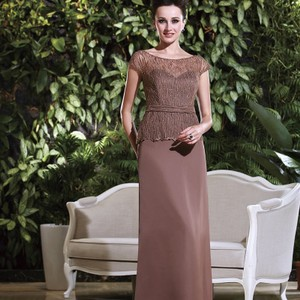 Jasmine Bridal Mocha Mother Of The Bride/Groom K168016 Traditional Bridesmaid/Mob Dress Size 14 (L)