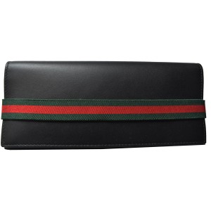 Gucci GUCCI Men's Black Tall Web Stripe Elastic Bi-fold Leather Wallet 40647
