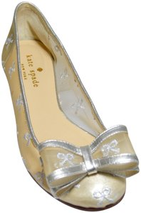 Kate Spade Ballerina Bow Mesh Champagne/Silver Flats