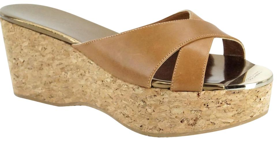 ae0ce096bf66 Jimmy Choo Brown Prima Leather Slide Espadrille Wedge Sandals Size ...