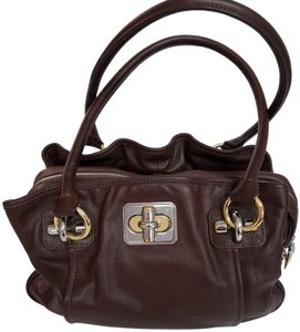 B. Makowsky Thick Soft Leather Exterior Pockets Two Interior Pockets Extra Roomy Purse Handbag Satchel in Brown