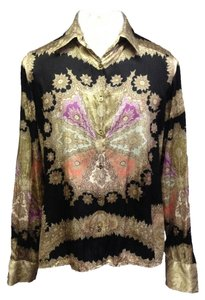 Roberto Cavalli Silk Button Up Silk Blouse Gold Black Patterned Button Down Shirt Multi-Color