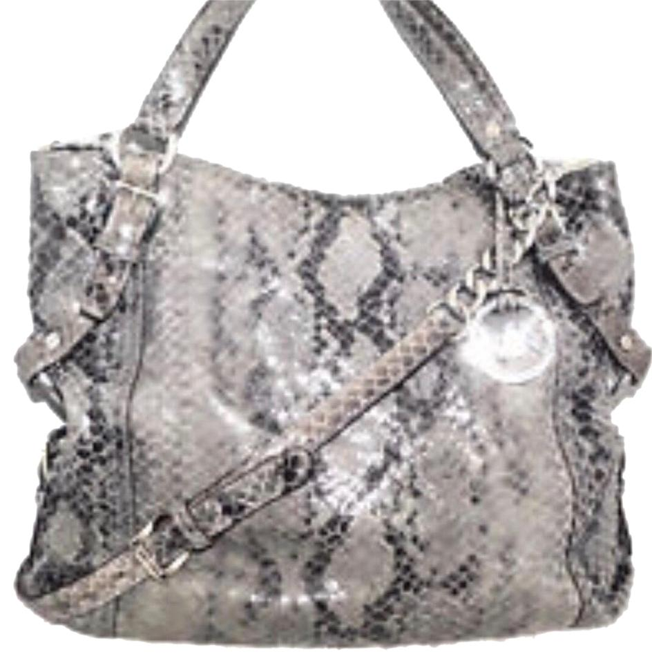 842faeb51419 Michael Kors Tristan Snake Grey and Black Snakeskin Leather Cross ...
