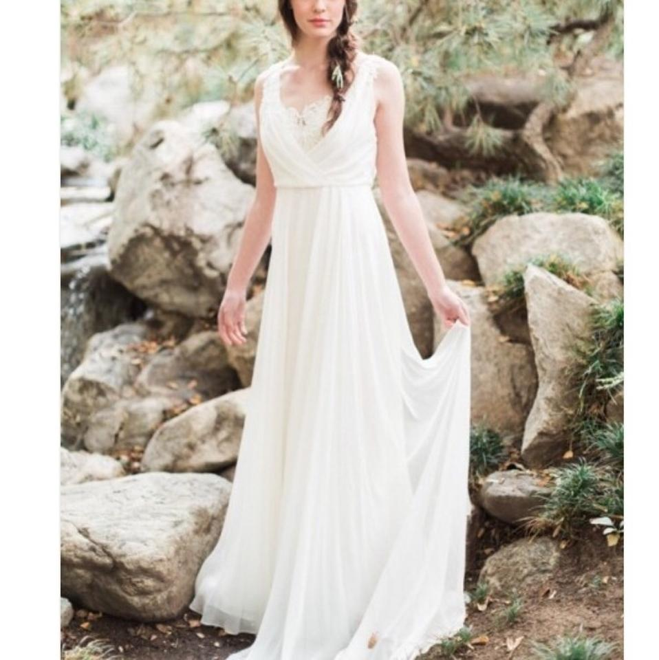 0ce21268706 Jenny Yoo Pearl White Silk Chiffon Athena Feminine Wedding Dress ...