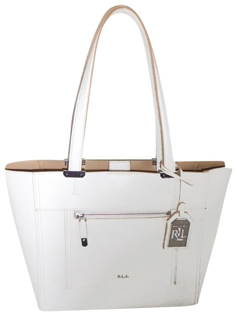Item - Nwot Front Zip Pocket White Faux Pebble Leather Tote