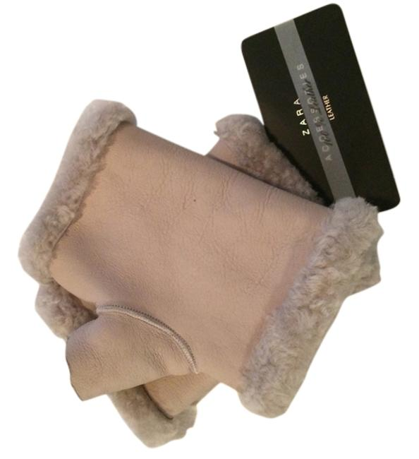 Item - Tan Leather and Shearling Fingerless Gloves
