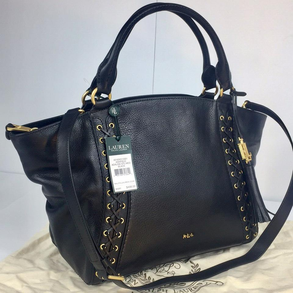 Lauren Ralph Lauren New Ashfield Medium Handbag Black Leather Satchel 4181ca9b26