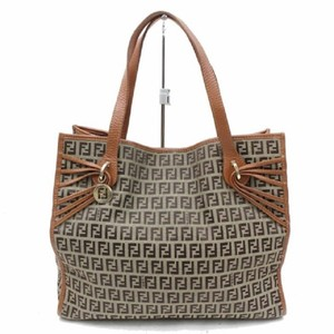 Fendi Mint Condition Unique Strap Accents Gold Charm Shades Of Tote in brown small F logo print canvas and camel leather