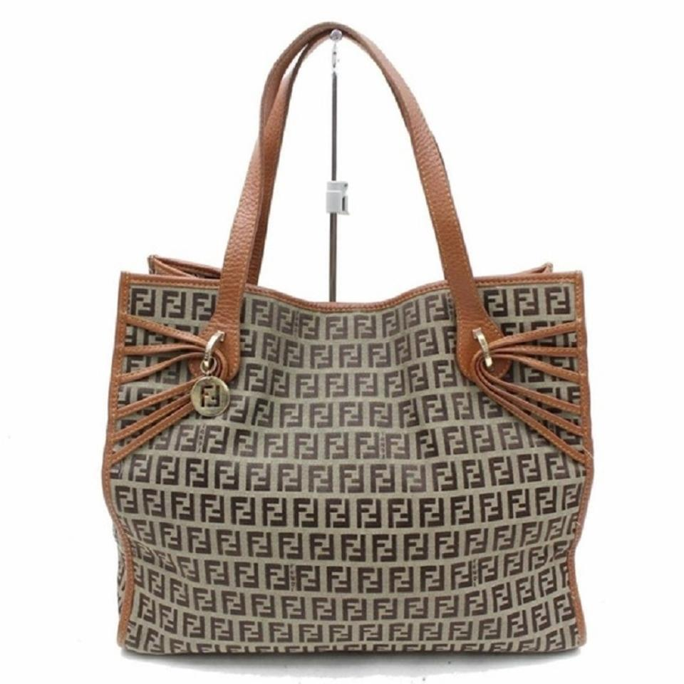 eca758bd7b Fendi Mint Condition Unique Strap Accents Gold Charm Shades Of Tote in  brown small F logo ...