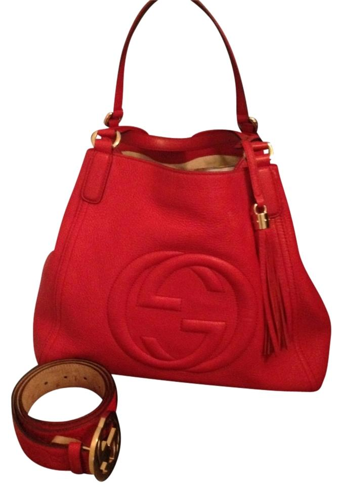 d48888bcd Gucci 282309 A70g 6523 Red Leather Shoulder Bag - Tradesy