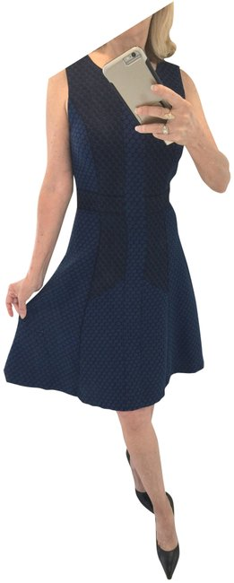Item - Blue and Black Rena Mid-length Work/Office Dress Size 4 (S)