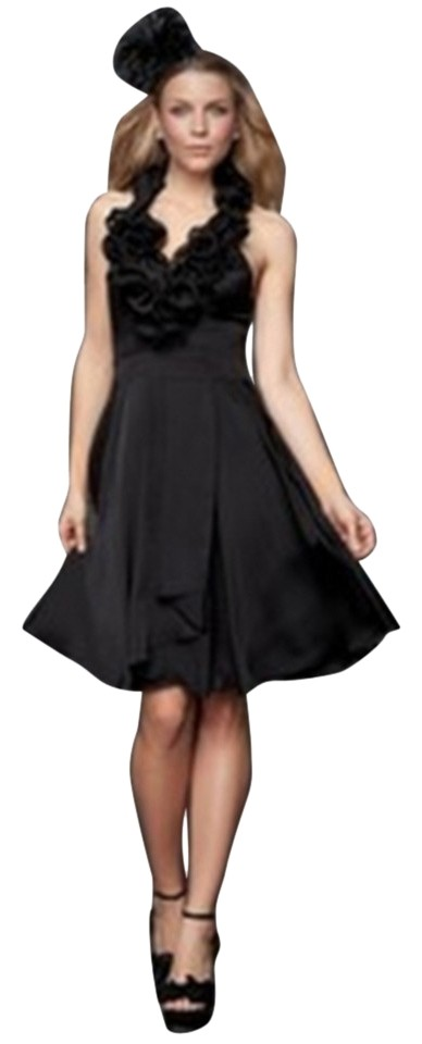 Bebe Black Flowy Satin Short Above Knee Cocktail Dress Size 12 L