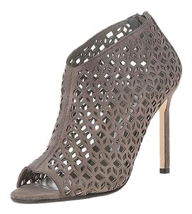Manolo Blahnik Peep Toe Suede Gray/Taupe Boots